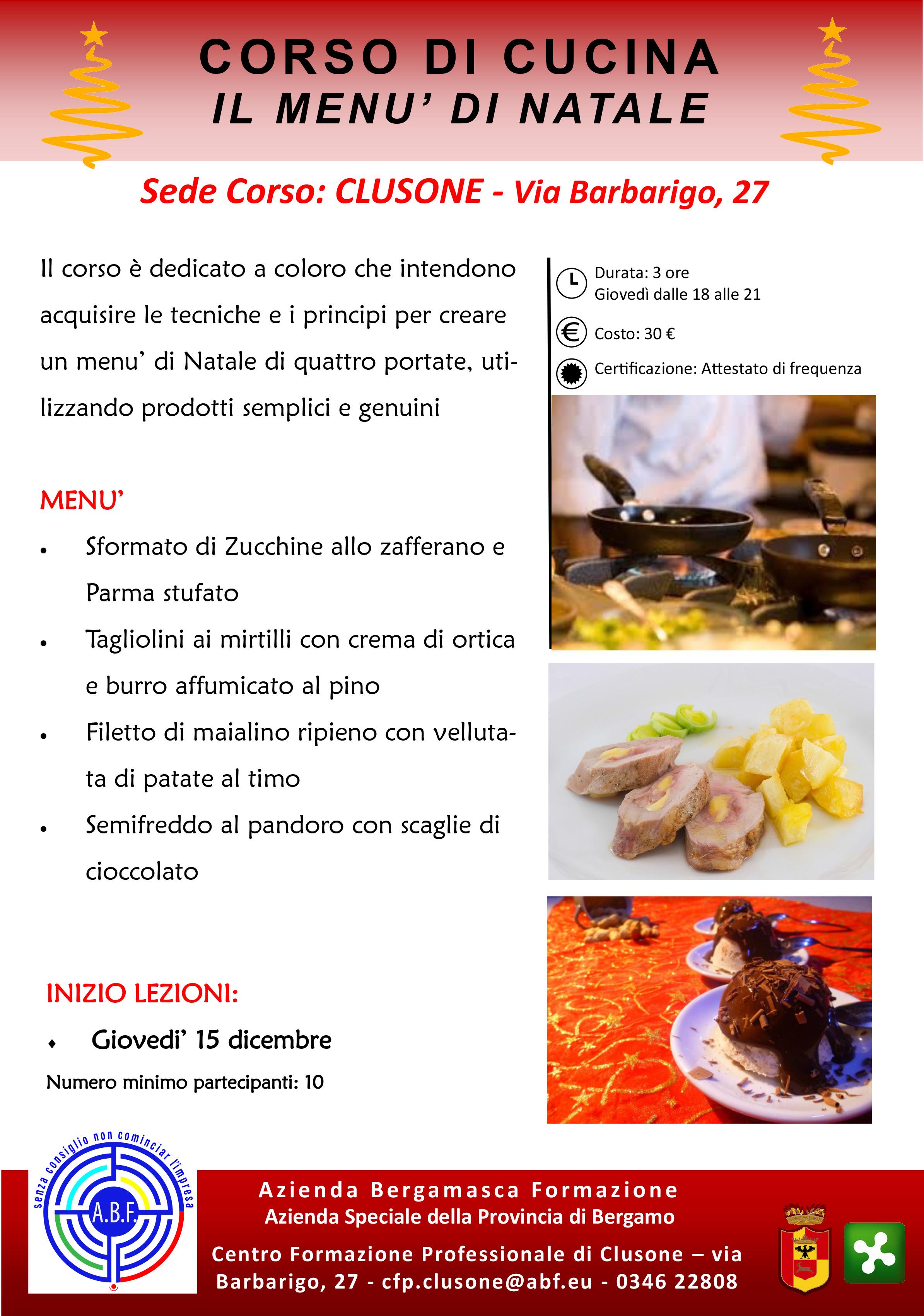 corso di cucina ? il menù di natale : abf ? azienda bergamasca ... - Corso Cucina Bergamo